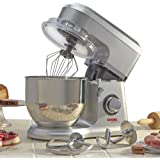 Electric Food Stand Mixer 5L Mixing Bowl, 3-in-1 Dough Hook, Whisk & Beater 800W by Cooks Professional (Stainless Steel Bowl, Silver)