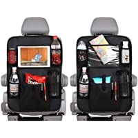 Car Backseat Organizer with Touch Screen Tablet Holder +Storage Pockets Kick Mats Car Seat Back Protectors Great Travel…