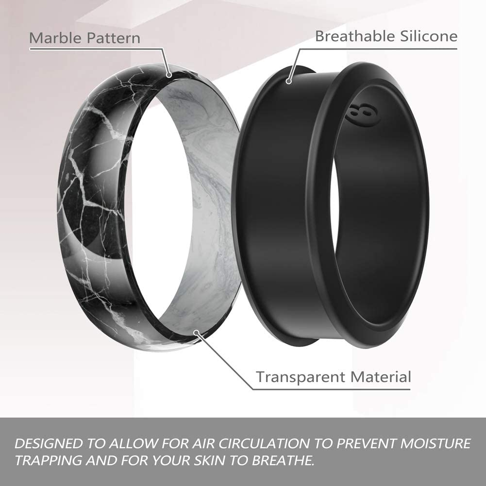 Ikonfittness Two Piece Silicone Wedding Ring Rubber Band Flexible Perfect Gift 3