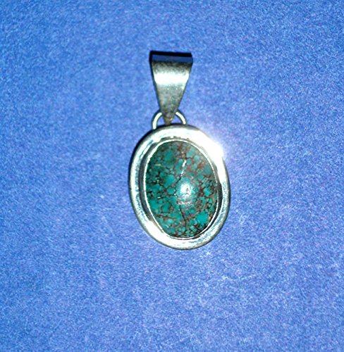 South Western Jewelry Handmade Turquoise/Ss Oval Pendant Approx. 3/4