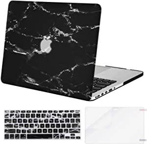 MOSISO MacBook Pro 13 inch Case 2015 2014 2013 end 2012 A1502 A1425, Plastic Pattern Hard Shell Case & Keyboard Cover & Screen Protector Compatible with MacBook Pro Retina 13 inch, Black Marble