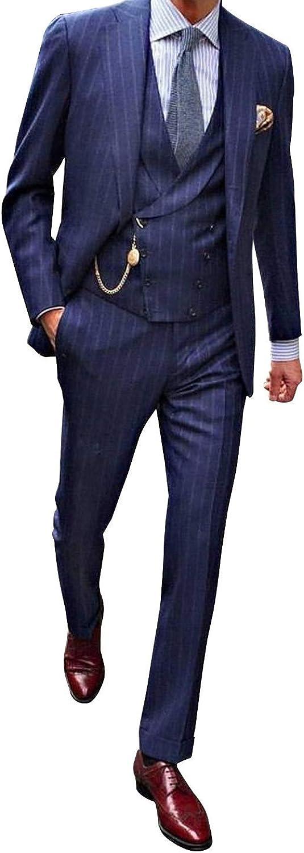 YZHEN Herren Anzug Streifen Peak Revers Zweireiher DREI St/ück Set