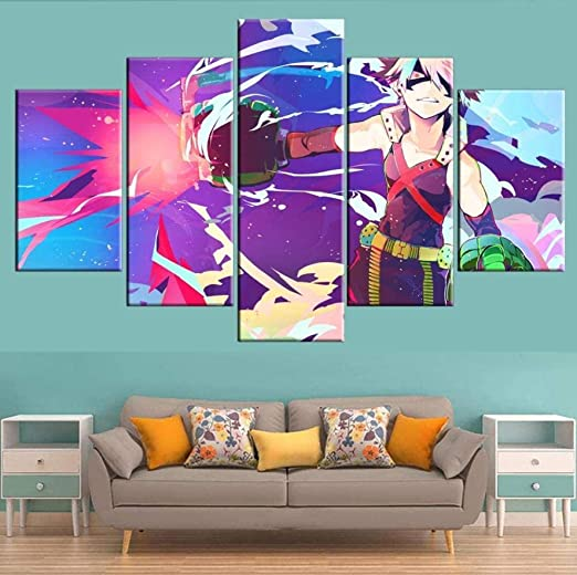 Shushuya Canvas Prints 5 Pieces My Hero Academia Painting On Canvas Poster Anime Living Room Modular Home Decoration Modern Mural Art Size3 Amazon Co Uk Kitchen Home