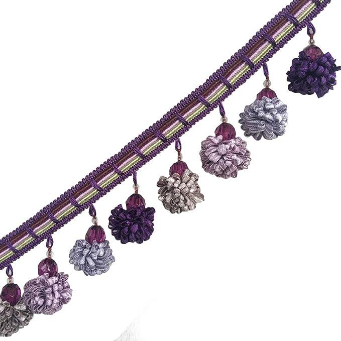 Aqua /& Vanilla Crystal Beaded Tassel Fringe Trim 4 TF-46//39-3 Upholstery /& Home Decor