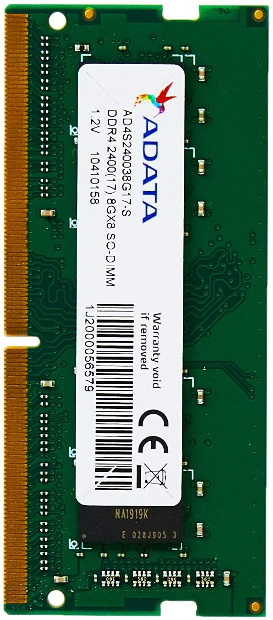 ADATA 8GB DDR4 2400MHz (PC4-19200) 260-Pin SODIMM Laptop Memory Module Single Rank (AD4S240038G17-S)