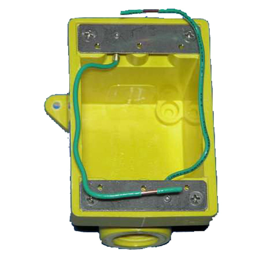 Marinco 6083CR Marine FD Box for 15, 20, 30, and 50-Amp Receptacles, and 7420CR and 7788CR Covers (Two 3/4'' Knockout Holes, Yellow)