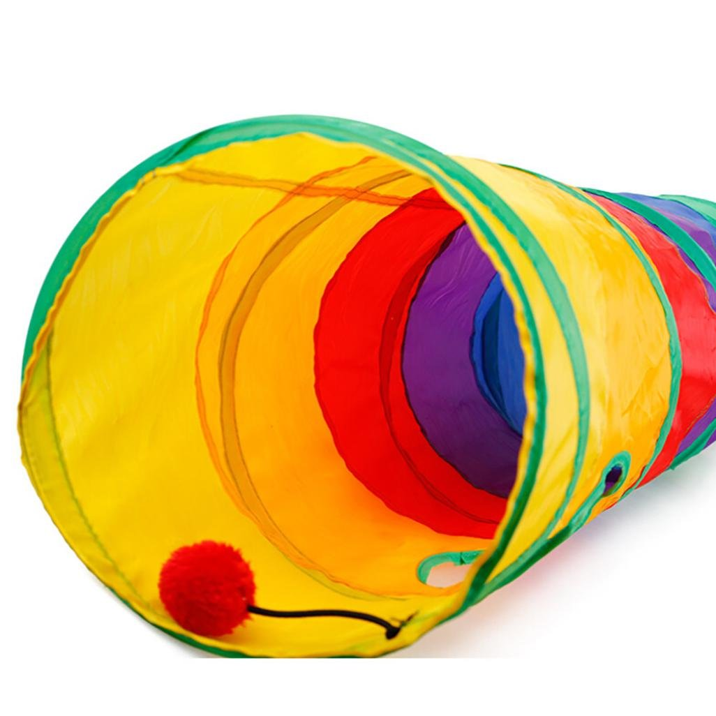 NewKelly Pet Tunnel Cat Printed Green Crinkly Kitten Tunnel Toy With Ball Play Fun Toy by NewKelly (Image #4)