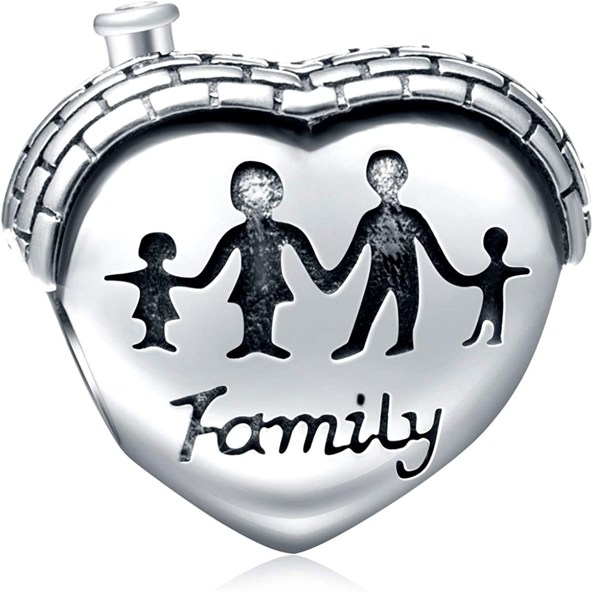 EMOSTAR Sterling Silver Family Charm House Charm Heart Shape Love Charm Family Hand Charm for Bracelets