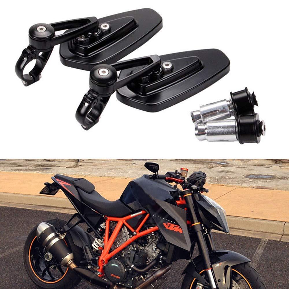 Universal Motorcycle 7/8'' Bar End Rearview Mirrors for Street Bike Sport Bike Cruiser-Pair (Black)