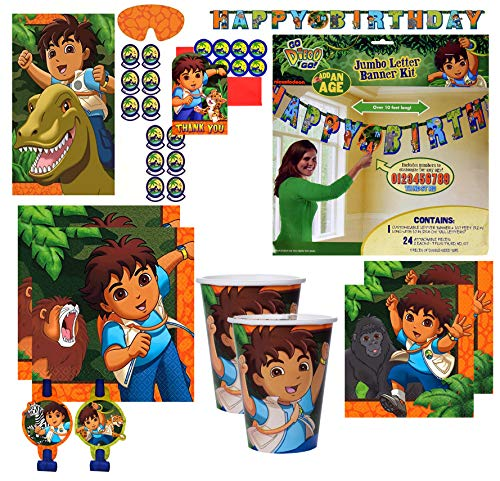 Go Diego Go! Birthday Party Supplies Napkins Cups Banner Pin Game Thank You Notes and blowouts]()