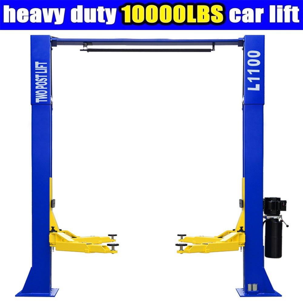 L1100 Car Lift 10,000lbs 2 Post Lift Car Auto Truck Hoist w/ Overhead Sensor Bar 220Volt