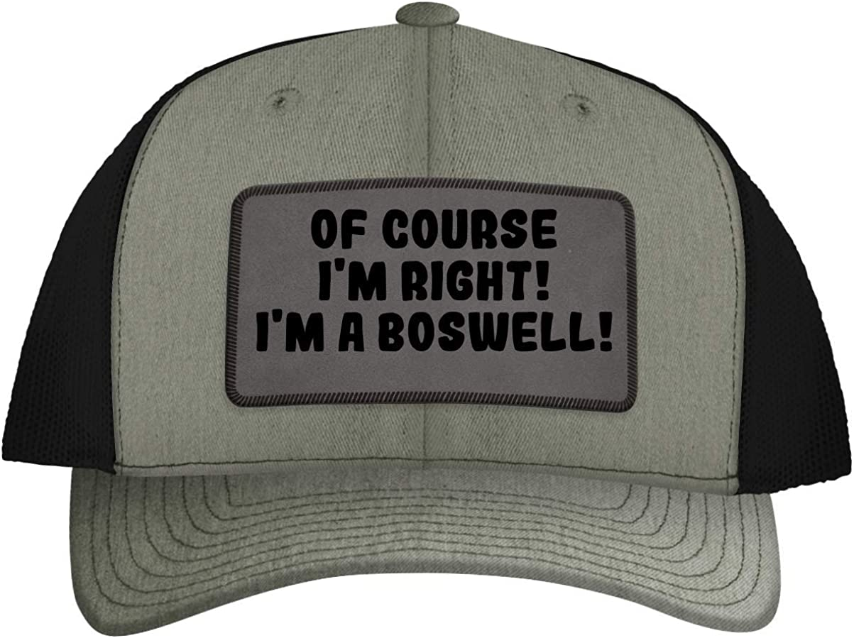 of Course I'm Right! I'm A Boswell! - Leather Grey Patch Engraved Trucker Hat, Heather-Black, One Size 61AMJv7BfeL