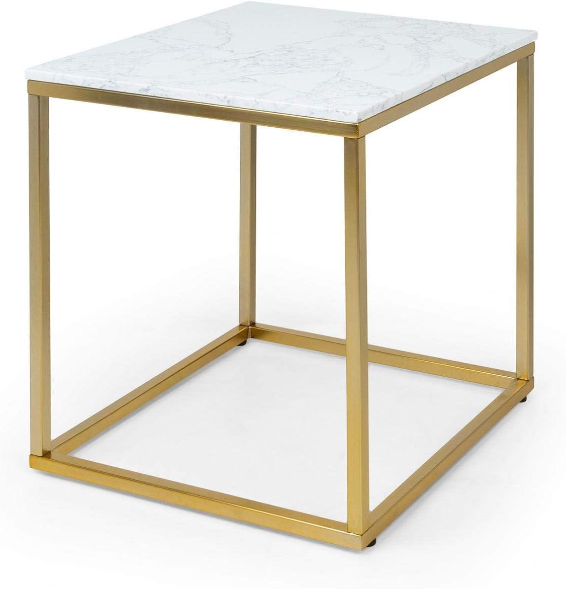 Besoa White Pearl I Mesa para el sillón - Mesa Auxiliar, 50 x 50 x 50 cm, Soporte de mármol Blanco, Hecho en Metal con Todos Dorados y Blancos
