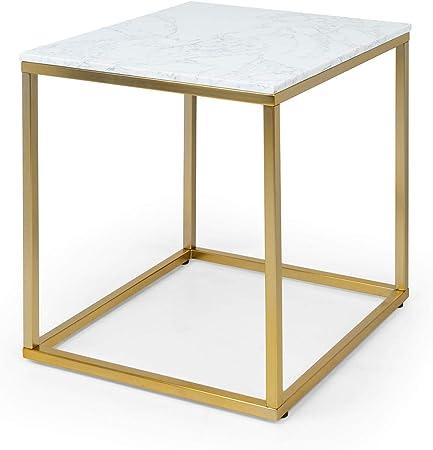 Beistelltisch Couch Sofatisch rund 110x42,5cm Tischplatte Marmor Metall schwarz