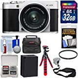 Fujifilm X-A5 Wi-Fi Digital Camera & 15-45mm XC Lens (Silver) with 32GB Card + Battery + Case + Flex Tripod + Strap + Filter + Kit