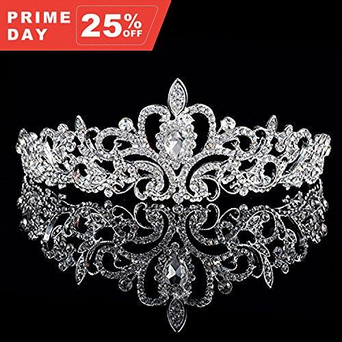 NIPOO Wedding Pageant Tiara Bridal Rhinestones Crystal Crown Headband Princess Headpiece