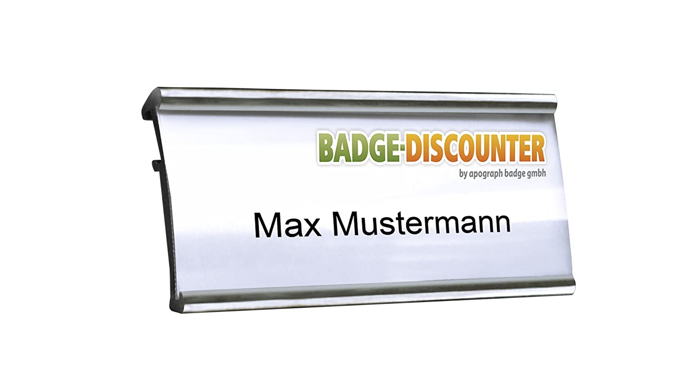 Aluminium Namensschilder MSG silber magnetisch 2 Stück zum Anstecken ...