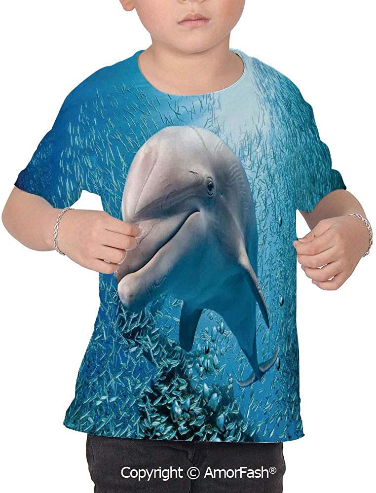 Sea Animals Decor All Over Print T-Shirt,95/% Polyester,Childrens Short Sleeve T
