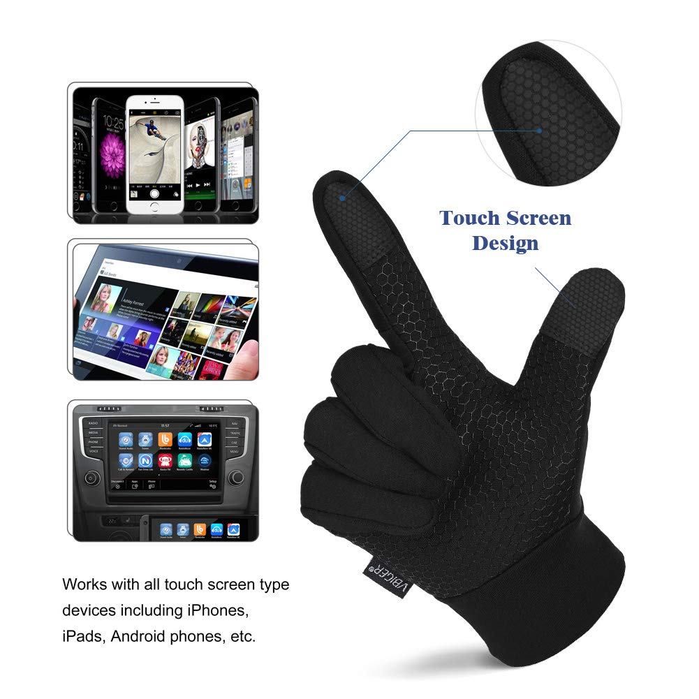 Vbiger Unisex Outdoor Gloves Windproof Touchscreen Cycling Gloves XL