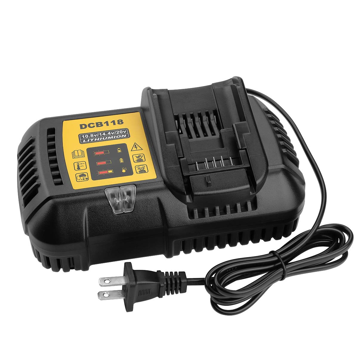 Energup 10.8V 14.4V 20V Fast Battery Charger DCB118 4.5A, Fit for Dewalt Lithium-Ion Battery DCB205 DCB206 DCB203BT DCB204BT DCB127, Replace DCB101 DCB102 DCB112 DCB115