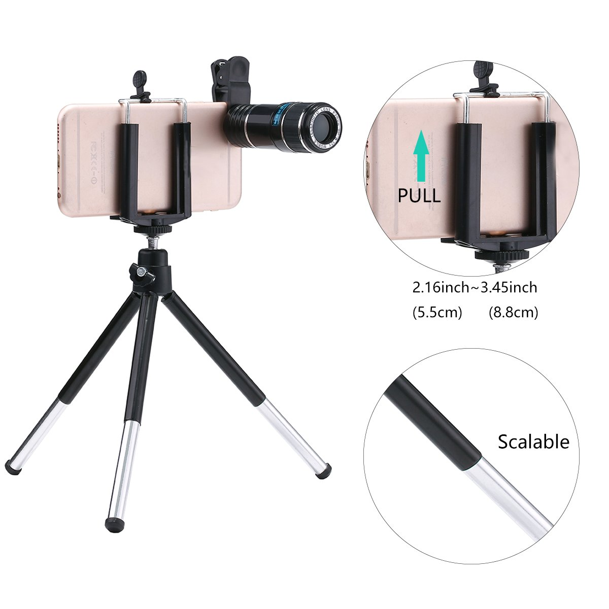 Phone Camera Lens, MSDADA Telephoto Lens Kit, 12X Optical Telescope, Fisheye, Wide Angle and Macro Lens, Retractable Tripod with Bluetooth Shutter for IPhone, Samsung, Most of Smartphones,Tablets by MSDADA (Image #6)