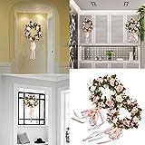 Sundlight Spring Floral Wreath Silk Rose Flowers Wreath Craft Decoration-Pink