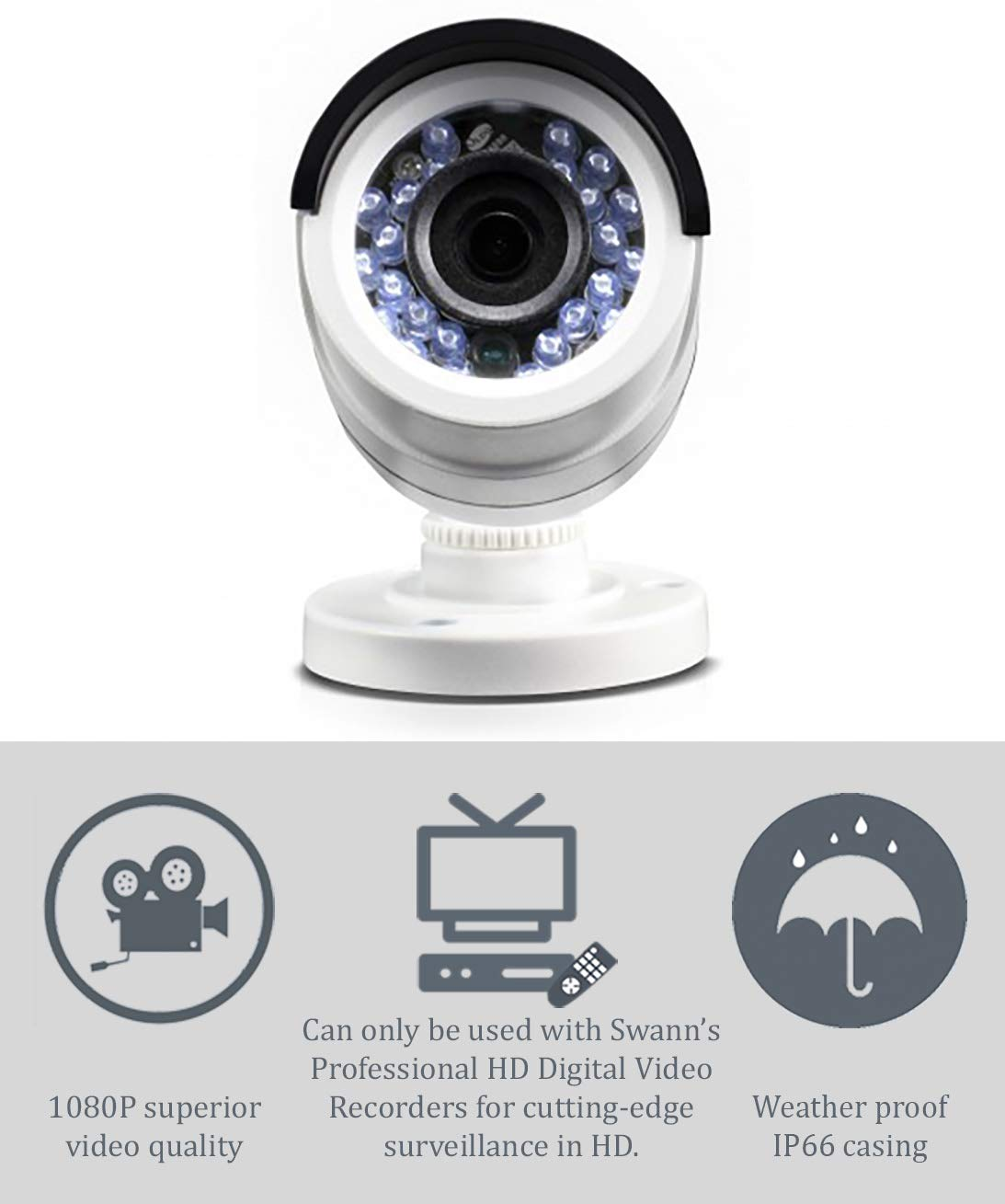 17b30caf48354 Amazon.com   Swann PRO-T852 1080p Multi-Purpose Day Night Security Camera  with Night Vision up to 100 ft   3m - 4-Pack   Camera   Photo