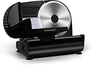 """Meat Slicer Techwood Electric Food Slicer with 9"""" Removable Stainless Steel Blade and Pusher, Deli Cheese Fruit Vegetable Bread Cutter with Adjustable Knob for Thickness, Food Carriage & Non-Slip Feet"""
