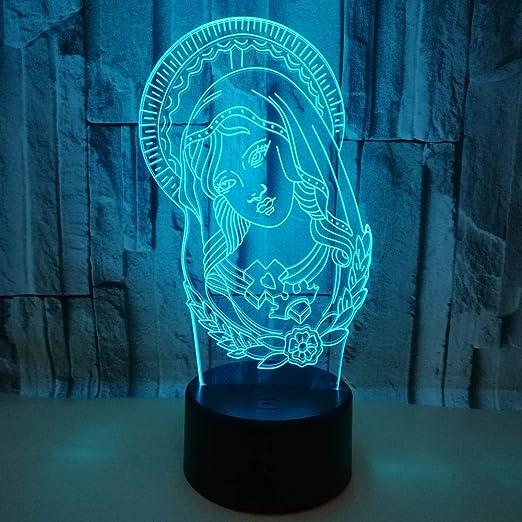 HHANN 3D Illusion Nuit Lumière Vierge Marie Led Bureau Table