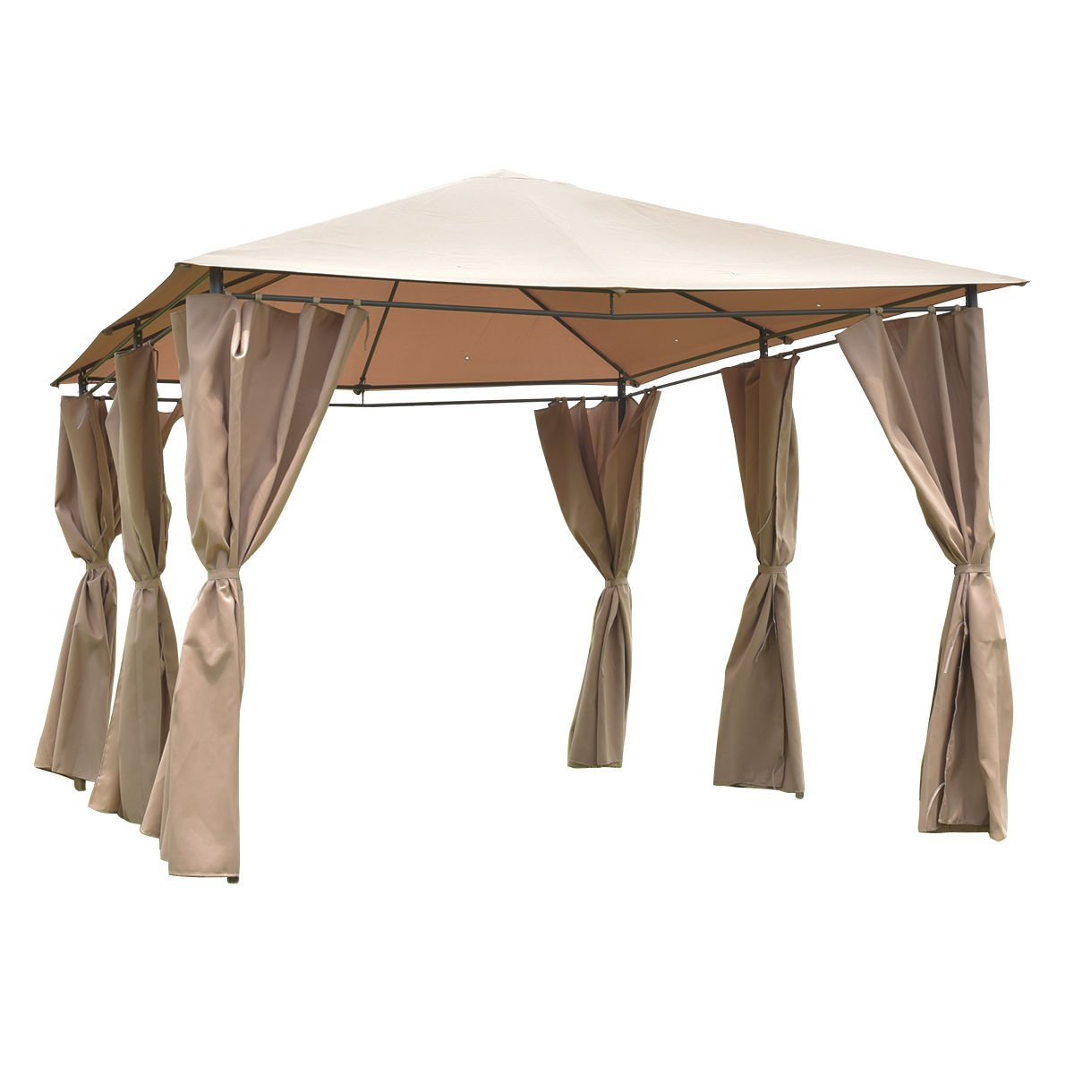 Tangkula 10'x13' Gazebo Fully Enclosed Canopy Tent Shelter Awning Garden Patio (Brown)