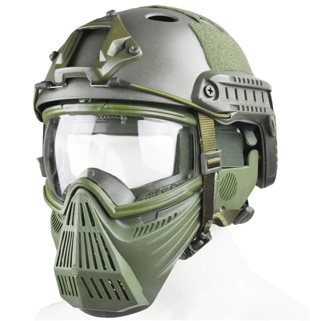 JFFCESTORE Tactical Mask and Fast Helmet,Protective Full Face Anti-Fog Clear Goggle mask Ear Protection Adjustable Strap One Size fits All (Green) by JFFCESTORE