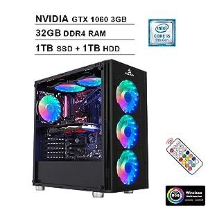 2020 NexiGo Quantum-Flux Liquid Cooled VR Ready RGB Gaming Desktop Computer (Intel 6-Core i5-9400F 2.9GHz, NVIDIA GTX 1060 3GB GDDR5, 32GB DDR4 RAM, 1TB SSD (Boot) + 1TB HDD, HDMI, WiFi, Windows 10)