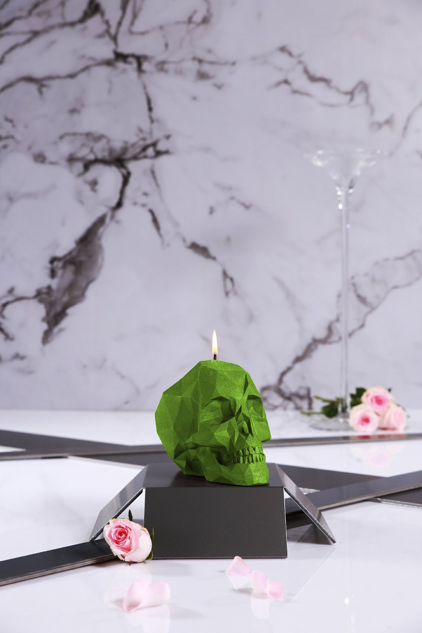 Candellana Candles Candellana- Skull Poly Candle-Lime,