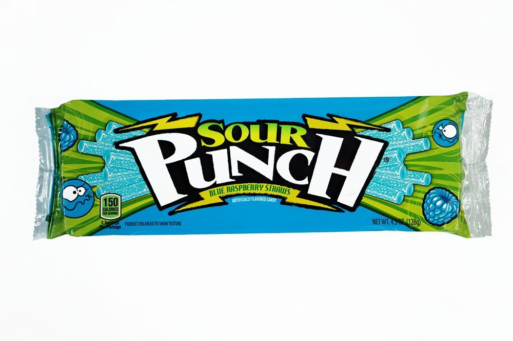 Sour Punch Blue Raspberry Sour Candy Straws 4.5 Oz Tray (Pack of 12) by Sour Punch
