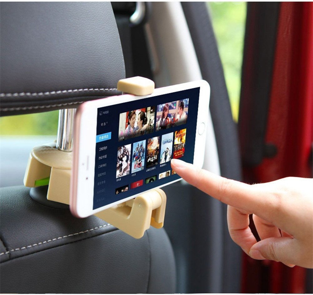 Car Back Seat Hooks With Cellphone Holder Universal Auto Vehicle Back Headrest Hooks for Holding Phones and Hanging Bag Purse Cloth Grocery Set of 2 (Black) Black