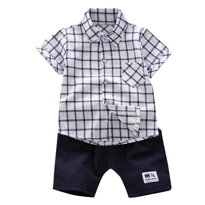 Sayla Ropa Bebe NiñA NiñO Verano Camisetas Conjuntos Moda Bebé Baby Boy Manga Corta Caballero Plaid Impreso Camiseta + Shorts Trajes Conjunto: Amazon.es: ...