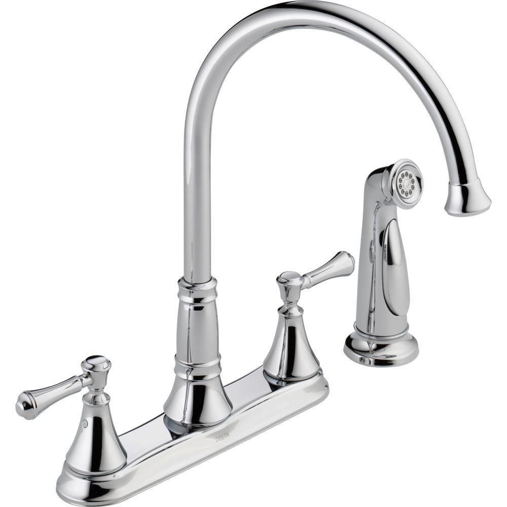 Delta Faucet 2497LF Cassidy, Two Handle Kitchen Faucet with Spray ...
