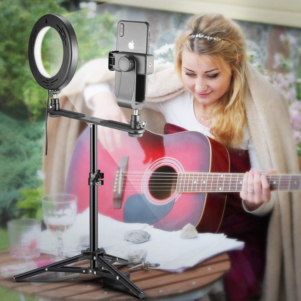 LED Ring Light 6'' with Tripod Stand & Phone Holder for Live Streaming & YouTube Video, Dimmable Desk Makeup Ring Light for Photography, Shooting with 3 Light Modes & 10 Brightness Level (High-6'') by FOXIN (Image #4)
