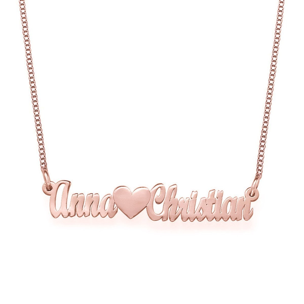 HACOOL Personalized 925 Sterling Silver Couple Heart Name Necklace Custom Made with 2 Names