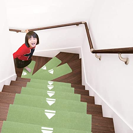 QTDZ 10pcs Luminoso Pelda?os Escaleras, Durable Pelda?os Alfombra Escalera Treads Pads Cubre Mismo-Adhesivo Lavable Protector De Escalera-Verde 70x22cm(28x9inch): Amazon.es: Hogar