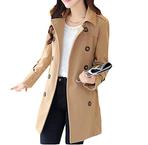 Amazon.com: Generic Womens Trendy Slim Double Breasted Wool Blend ...