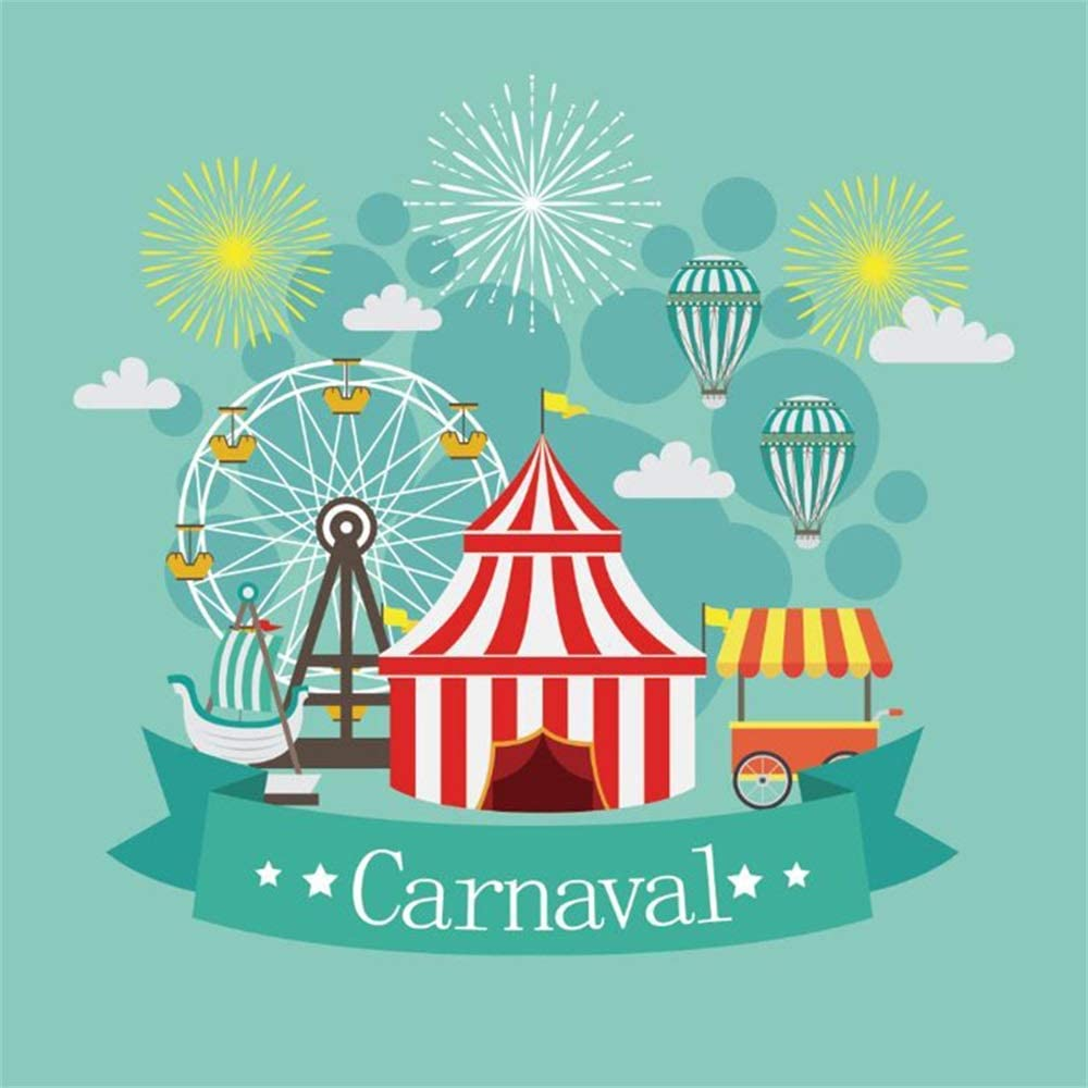 GoEoo Carnival Party Backdrop 5x5ft Vinyl Cartoon Funfair Circus Tent Fire Balloons Ferris Wheel Ice Cream Boat Fireworks Mint Green Photography Background Kids Baby Birthday Party Banner Cake Smash