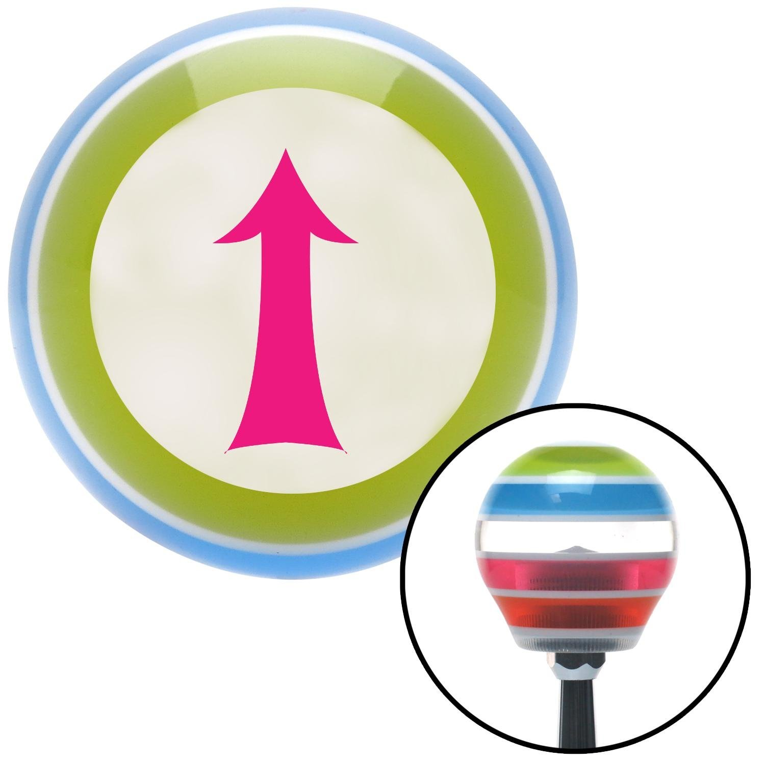 American Shifter 130956 Stripe Shift Knob with M16 x 1.5 Insert Pink Fancy Solid Directional Arrow Up