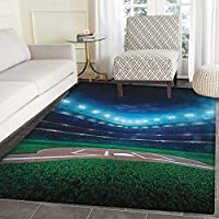 Baseball Print Area rug Professional Baseball Field at Night Vibrant Playground Stadium League Theme Print Indoor/Outdoor Area Rug 5x6 Green Blue