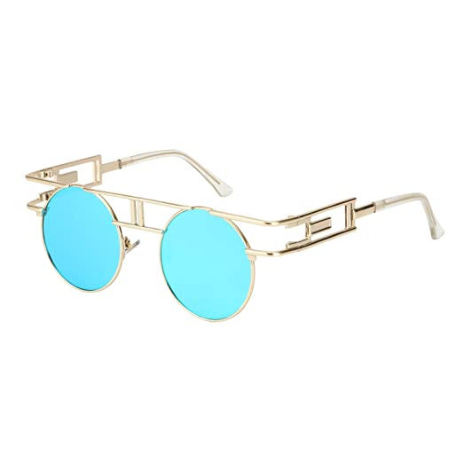 bb24c7d22d ROYAL GIRL Gothic Steampunk Sunglasses Women Men Round Flash Mirrored Lens  Vintage Blue