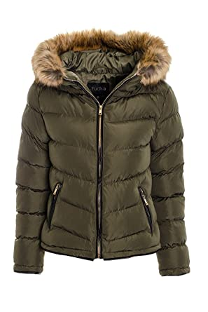40a0e4defb3 Fuchia boutique Women's Puffer Padded Bomber Jacket Ladies Coat Quilted  Hooded Padded Jacket