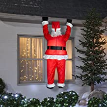 Gemmy Airblown Inflatable Realistic Santa Hanging from Gutter - Indoor Outdoor Holiday Decoration, Approximately 6.5-foot Tall