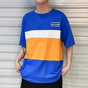 Camisa para Hombre Nueva Camiseta de Manga Corta Suelta de Color ...