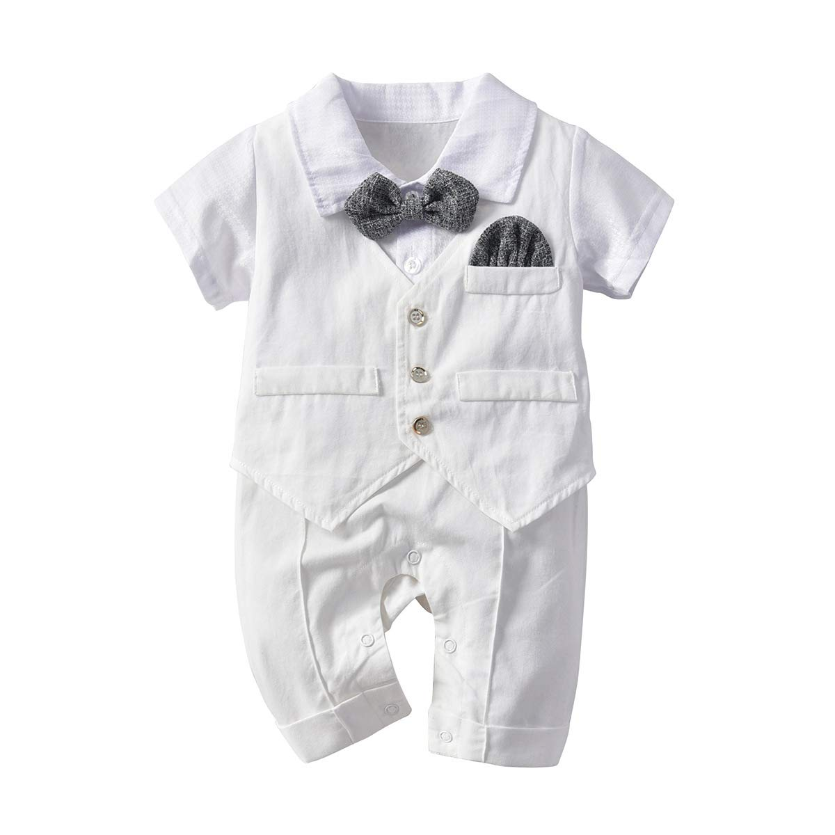 DaMohony Baby Boy Gentleman Romper Baby False Two Piece Romper Gentleman Bow Tie Jumpsuit for 0-24 Months