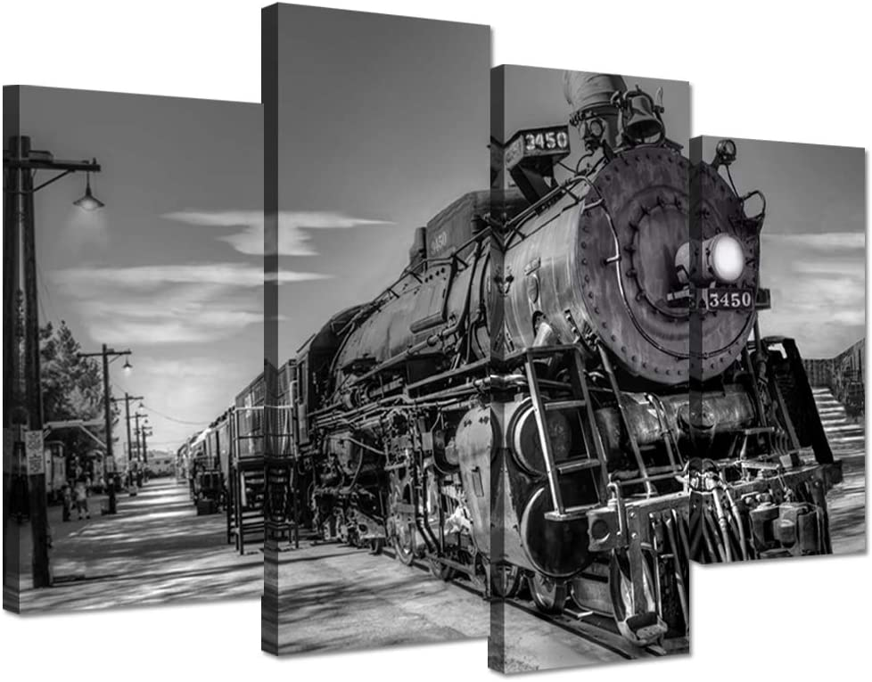 Hello Artwork Canvas Prints Wall Art Vintage Black and White Steam Train Coal Burning Locomotive Wall Hanging Print On Canvas Car Pictures for Home Decoration Gift Stretched and Framed Ready to Hang